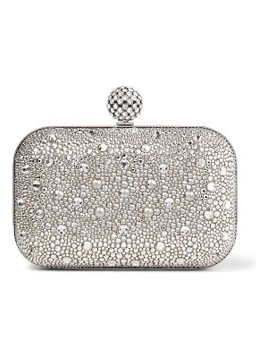 Jimmy Choo CLOUD Nude Shimmer Suede Clutch Bag with Hotfix and Crystal-Encrusted Sphere Clasp
