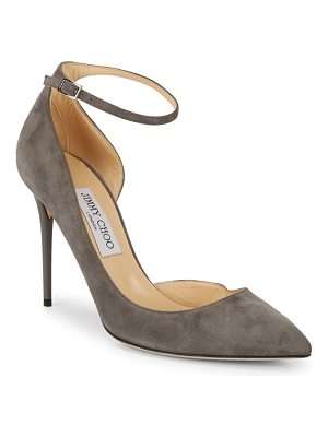 Jimmy Choo Cut-Out Leather Ankle Strap Pumps