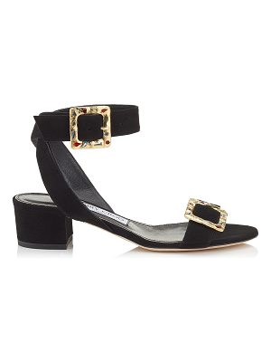 Jimmy Choo DACHA 35 Black Suede Sandals with Jewelled Buckle