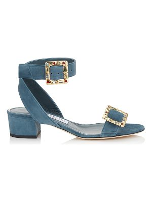 Jimmy Choo DACHA 35 Dusk Blue Suede Sandals with Jewelled Buckle
