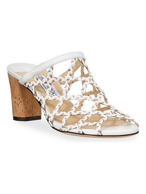 Jimmy Choo Dean Braided Rope Cutout Slide Sandals