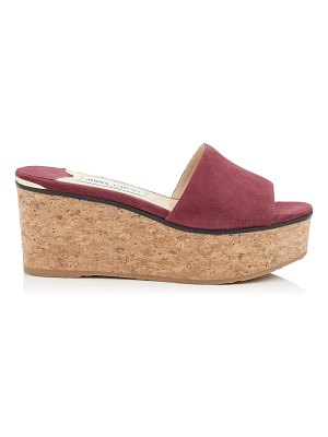 Jimmy Choo DEEDEE 80 Bordeaux Suede Wedge Sandal
