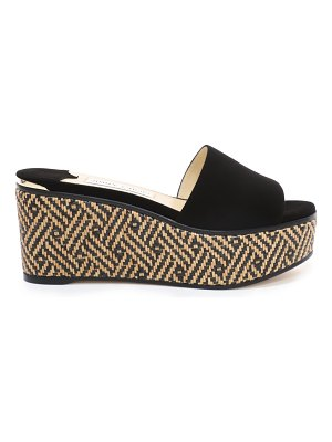 Jimmy Choo DEEDEE 80 Natural and Black Suede Wedges with Woven Braided Raffia