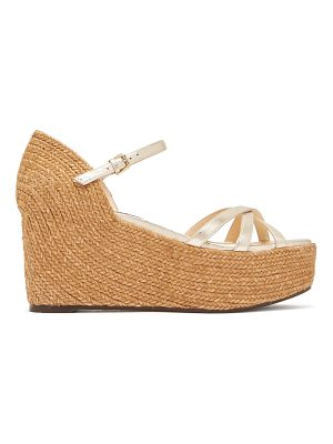 Jimmy Choo Delany 80 leather espadrille wedge sandals