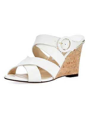 Jimmy Choo Delila Vachetta Leather Wedge Slide Sandal