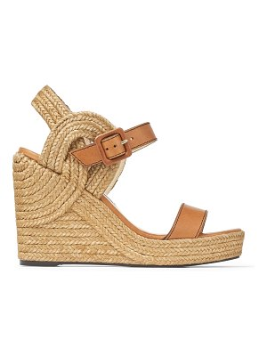 Jimmy Choo DELPHI 100 Cuoio Vachetta Leather Wedge Sandals with Braided Rope