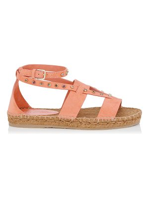 Jimmy Choo DENISE FLAT Calypso Suede Sandals with Stone Effect Studs