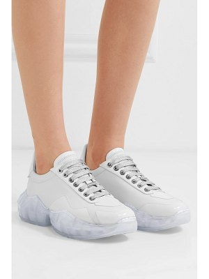 Jimmy Choo diamond patent-trimmed leather sneakers