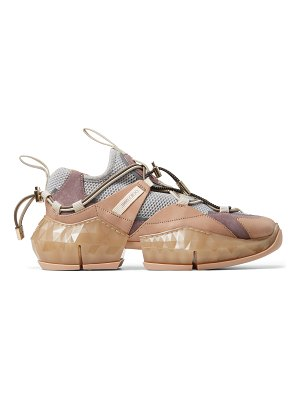 Jimmy Choo DIAMOND TRAIL/F Porcelain Stretch Mesh and Ballet Pink Leather Mix trainers