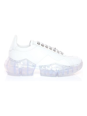 Jimmy Choo DIAMOND/F White Calf Leather with Patent Low Top Trainers