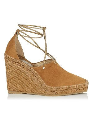 Jimmy Choo DULCET 110 Cuoio Suede and Metallic Nappa Espadrille Wedge