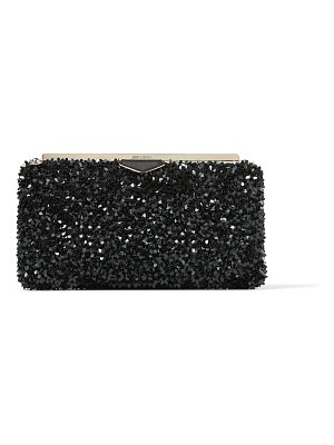 Jimmy Choo ELLIPSE Black Suede Clutch Bag with Flower Sequin Embroidery
