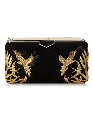 Jimmy Choo ELLIPSE Black Suede Clutch Bag with Gold Bird Embroidery