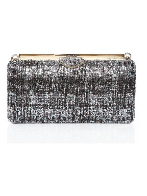 Jimmy Choo ELLIPSE Bubblegum Mix and Black Clutch Bag in Painted Coarse Glitter Fabric