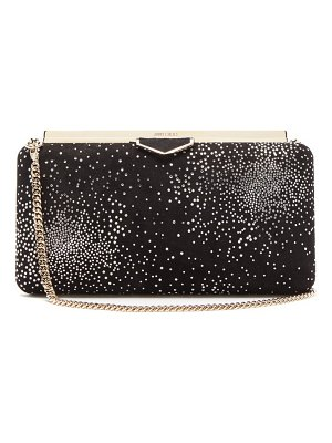 Jimmy Choo ellipse crystal embellished suede clutch