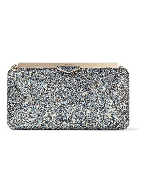 Jimmy Choo ELLIPSE Electric Blue Mix Party Coarse Glitter Fabric Clutch Bag