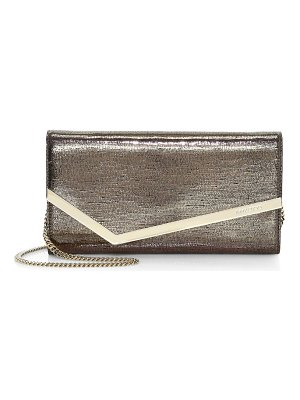 Jimmy Choo emmie metallic lizard-embossed leather clutch