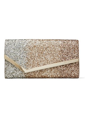 Jimmy Choo EMMIE Rose-Gold Dégradé Glitter Leather Clutch Bag