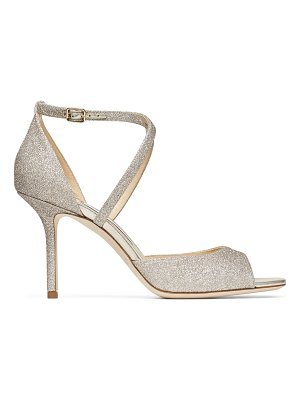 Jimmy Choo EMSY 85 Platinum Ice Dusty Glitter Sandals