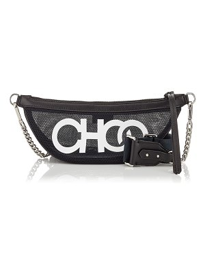 Jimmy Choo FAYE Black and White Mesh Belt Bag with Choo Logo