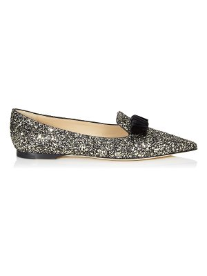 Jimmy Choo GALA Gold Mix Star Coarse Glitter Pointy Toe Flats