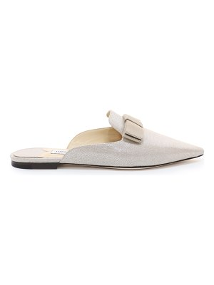 Jimmy Choo GALAXY FLAT Natural and Silver Metallic Linen Pointy Toe Mules with Bow