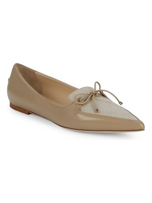Jimmy Choo Genna Leather & Linen Point Toe Loafers