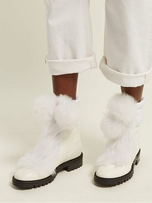 Jimmy Choo Glacie Pompom Shearling Trimmed Leather Boots