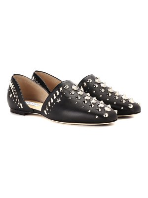 Jimmy Choo Globe embellished leather flats