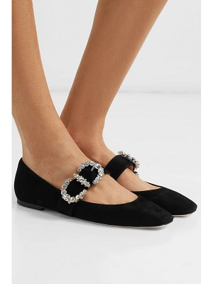 Jimmy Choo goodwin crystal-embellished suede mary jane ballet flats