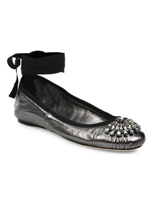Jimmy Choo Grace Crystal-Embellished Metallic Leather Ankle-Wrap Ballet Flats