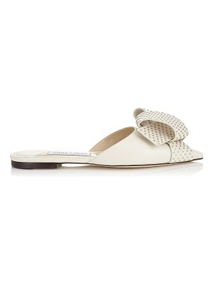 Jimmy Choo GRETCHEN FLAT Chalk Kid Leather Flats with Silver Studded Bow