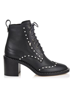 Jimmy Choo HANAH 65 Black Smooth Leather Booties with Pearl Detailing