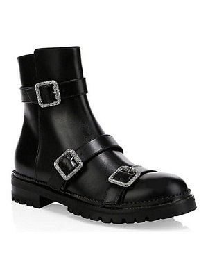 Jimmy Choo hank crystal buckle leather combat boots