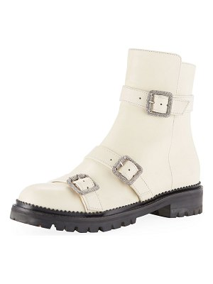 Jimmy Choo Hank Triple-Strap Leather Moto Boots