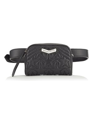 Jimmy Choo HELIA CAMERA BAG Black and Silver Star Matelassé Nappa Leather Camera Bag with Embossed Stars