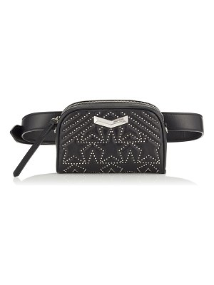 Jimmy Choo HELIA CAMERA BAG Black Star Matelassé Nappa Leather Camera Bag with Mini Studs