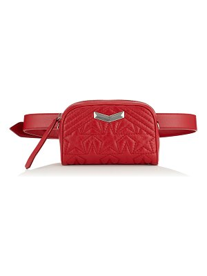 Jimmy Choo HELIA CAMERA BAG Red Star Matelassé Nappa Leather Camera Bag with Embossed Stars