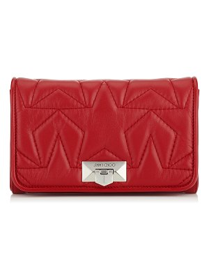 Jimmy Choo HELIA CLUTCH Red Star Matelassé Nappa Leather Clutch with Chain Strap
