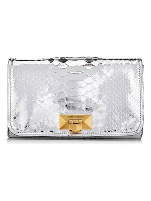 Jimmy Choo HELIA CLUTCH Silver Metallic Python Clutch with Chain Strap
