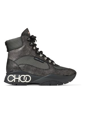 Jimmy Choo INCA/F Anthracite Crosta Suede and Technical Mesh Trainers