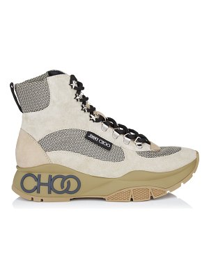 Jimmy Choo INCA/F White Sand and Natural Crosta Suede, Calf and Technical Mesh Trainers