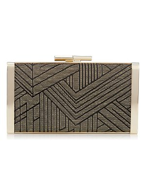 Jimmy Choo J BOX Black and Gold Deco Graphic Fabric Clutch Bag