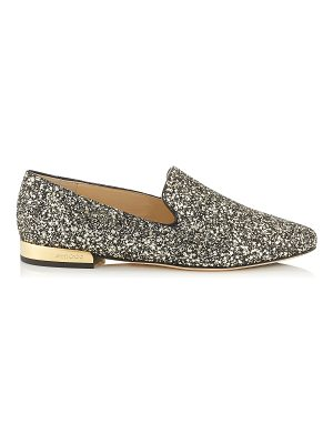 Jimmy Choo JAIDA FLAT Gold Mix Star Coarse Glitter Fabric Square Toe Slippers