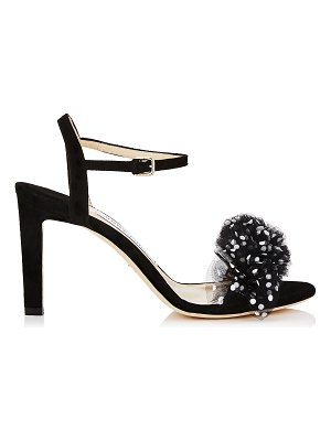 Jimmy Choo JAMILLE 85 Black Suede Open Toe Sandal with Polka Dot Tulle