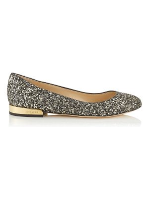 Jimmy Choo JESSIE FLAT Gold Mix Star Coarse Glitter Fabric Round Toe Pumps