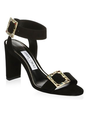 Jimmy Choo Jewelled Buckle Suede Ankle-Strap Sandals