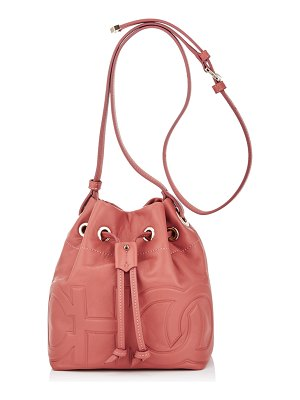 Jimmy Choo JUNO/S Rosewood Nappa Leather Drawstring Bag with Embossed Choo Logo