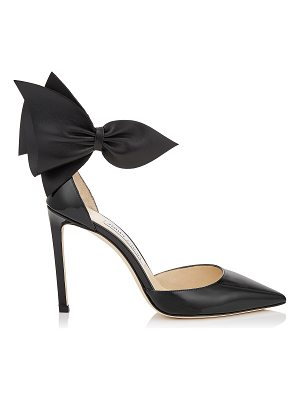 Jimmy Choo KELLEY 100 Black Patent Leather and Nappa Leather Pointy Toe Pumps