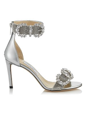 Jimmy Choo LAIS 85 Silver Liquid Mirror Leather Sandals with Crystal Buckles